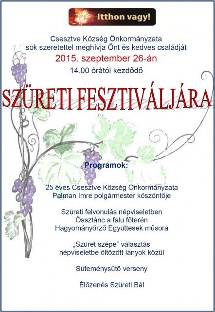 Csesztvei Szüreti Fesztivál 2015.09.26.