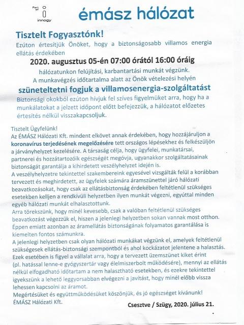 Augusztus 5-én 7:00-tól 16:00-ig áramszünet lesz