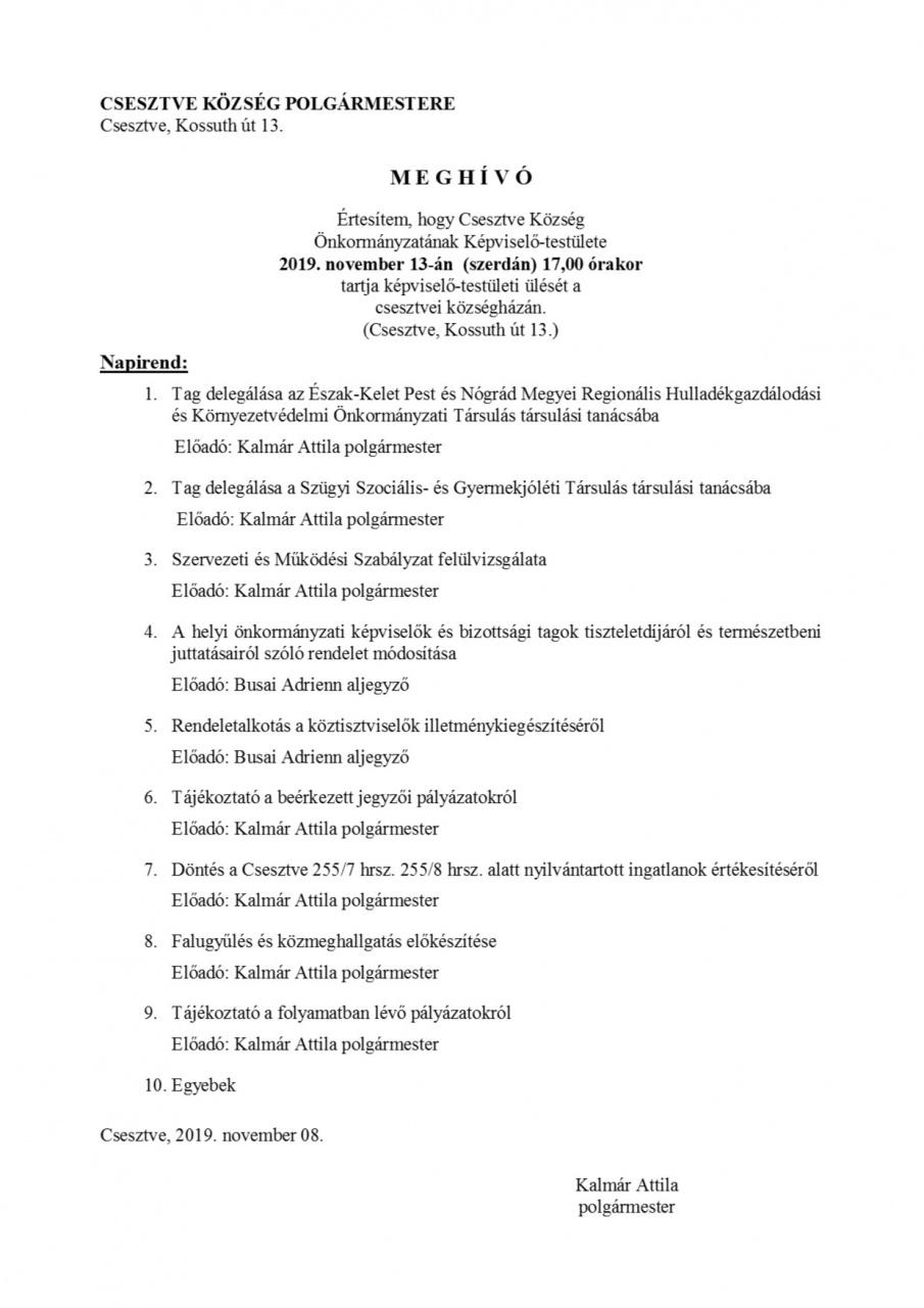 Meghívó az ökormányzat testületi ülésére 2019.11.13-ra